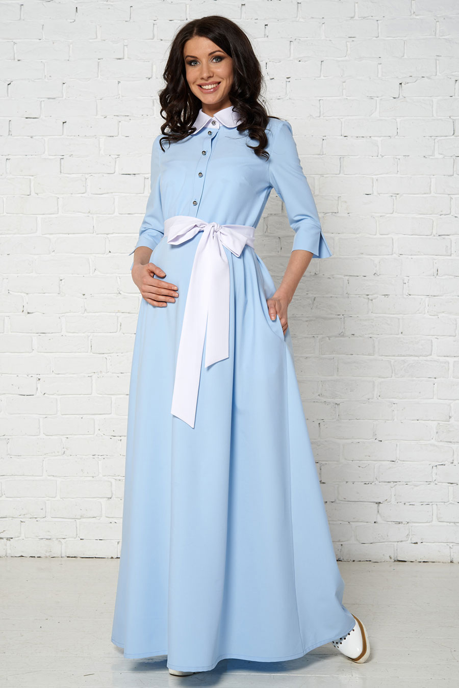 5a0f9bab8559f2d Фото Платье Bambinomania Аквапезе голубое с бантом для беременных и кормящих  от магазина Kidster