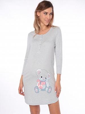 Платье домашнее Euromama 1126 голубой меланж для беременных и кормящих от  магазина Kidster a25d0df91f9