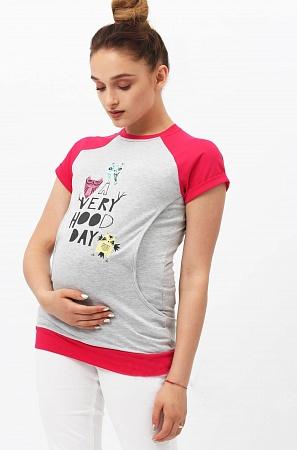 Футболка Yammy Mammy сер.меланж фуксия для беременных и кормящих от магазина  Kidster b4b0a2f0b09