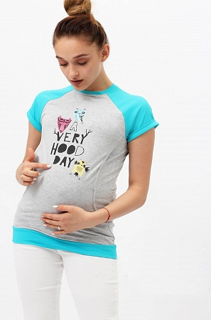 Футболка Yammy Mammy сер.меланж бирюза для беременных и кормящих от магазина  Kidster e04feb18286