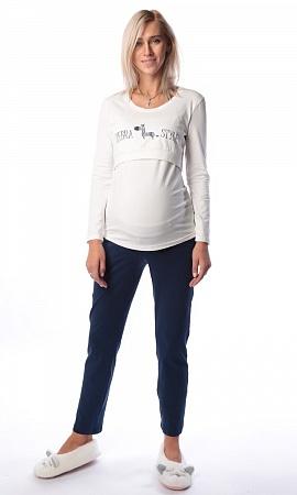 Пижама Euromama 1422 дл. рук. белый синий для беременных и кормящих от  магазина dc557b0246a