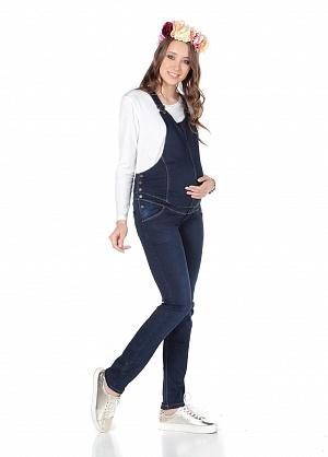 f770236b1337459 Комбинезон утепл. Euromama 9651 джинс на флисе т-синий для беременных от  магазина Kidster